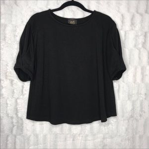 W5 Black Crew Neck Short Puff Sleeve Blouse Top